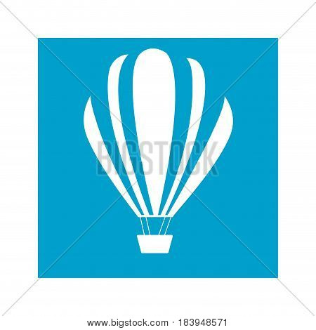 blue square frame with hot air balloon vector illustration