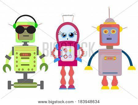 Set of funny cartoon robots art illustration