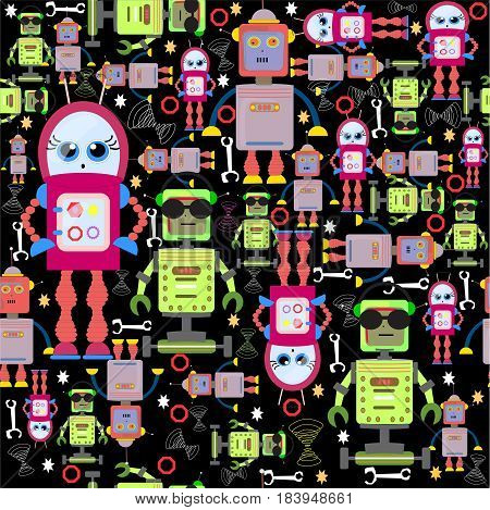 Vector Seamless Background Funny Colorful Robots on Black. Droid s Pattern