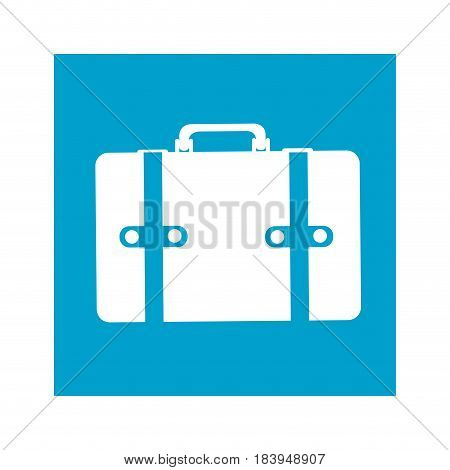 blue square frame with suitcase icon vector illustration