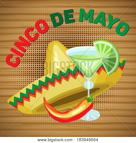 Vector square card for the holiday of Cinco de Mayo. Sombrero and margarita with chili pepper on a wooden background.