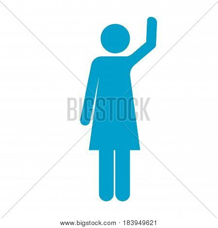 blue silhouette of pictogram woman with left arm raised vector illustration