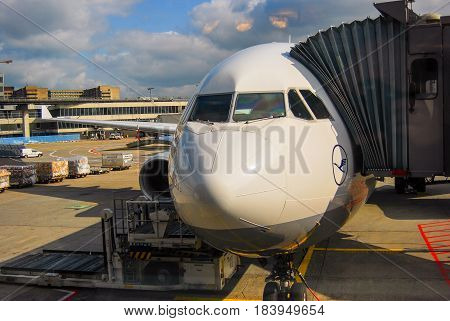 Frankfurt am Main,Germany-April 23,2009: A Lufthansa airplane stands ready for boarding at the tarmac in Frankfurt Airport