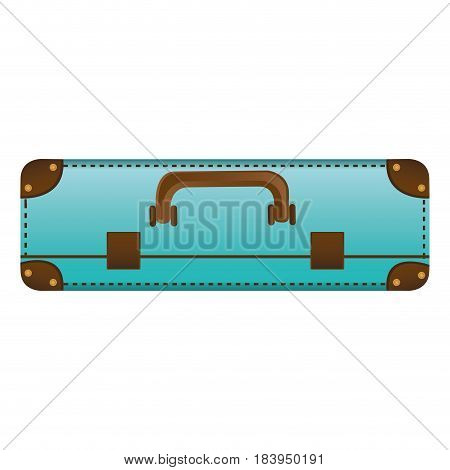 realistic silhouette with blue suitcase vector illustration
