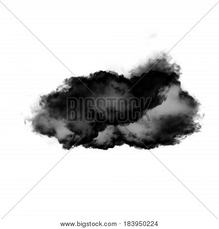 Black cloud shape isolated over white background 3D realistic illustration single cloud 3D rendering