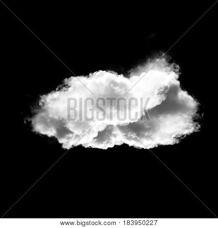 White cloud shape isolated over white background 3D realistic illustration single cloud 3D rendering