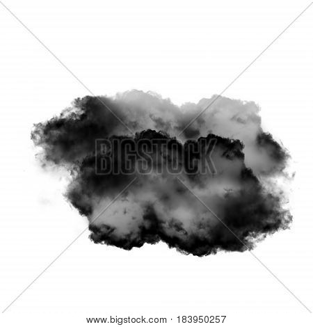 Soft black and grey cloud shape isolated over white background 3D realistic illustration single cloud 3D rendering