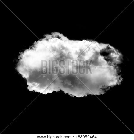 Cloud shape isolated over black background 3D realistic illustration single cloud 3D rendering