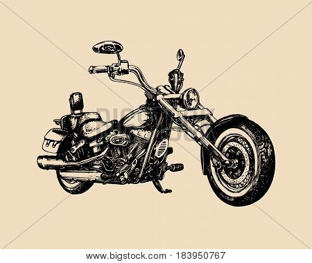 Vector hand drawn classic chopper for MC sign, label. Vintage detailed motorcycle illustration for custom biker company, garage logo, t-shirt print etc.