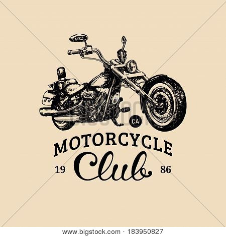 Motorcycle club advertising poster. Vector hand drawn chopper for MC sign, label. Vintage detailed custom bike illustration for t-shirt print, garage logo etc.