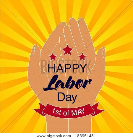 Happy Labor Day Card With Stars And Red Ribbon. 1St Of May Date.