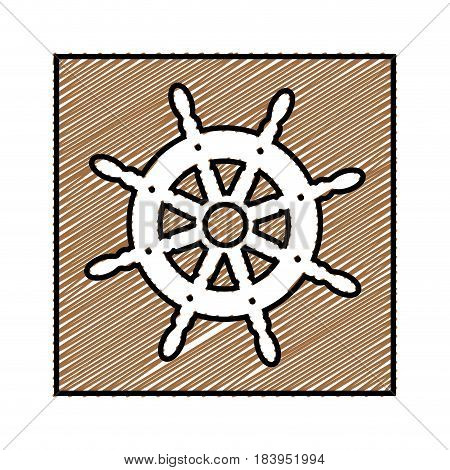 color pencil drawing square frame with boat helm vector illustration