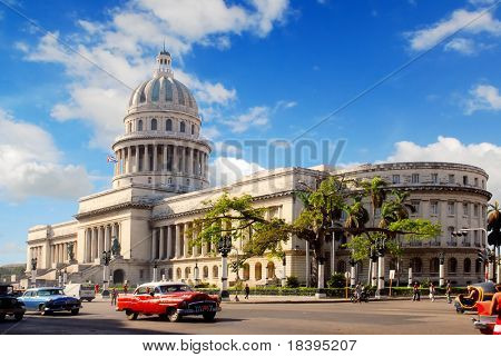 Capitolio building Havana, Cuba with vintage old american cars