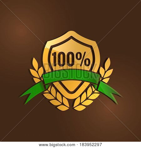 gold quality mark with Green ribbon on the brown background