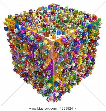 Gift boxes large group cube 3d illustration horizontal isolated over white