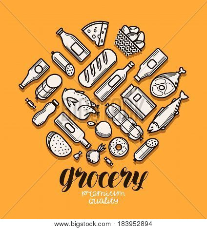 Food and drinks icons. Grocery store banner. Vector illustration