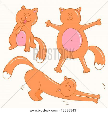 Set of cute lazy ginger cats doing routine things