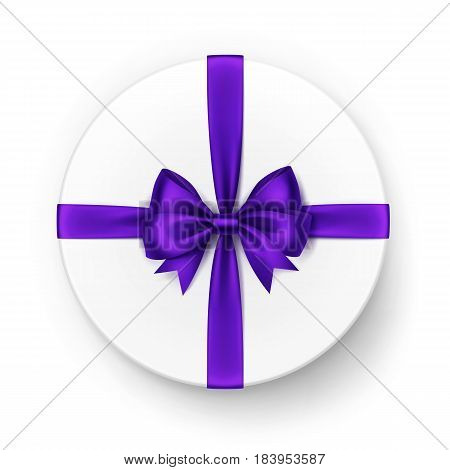 Vector White Round Gift Box with Shiny Violet Purple Satin Bow and Ribbon Top View Close up Isolated on White Background