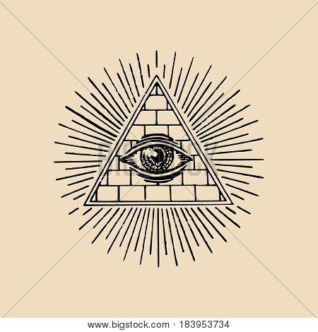 All-seeing eye. Freemasonry pyramid vector illustration. Engraving masonic logo, emblem