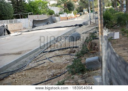 Road Construction And Repairs constraction trash cutted electric cabels poster