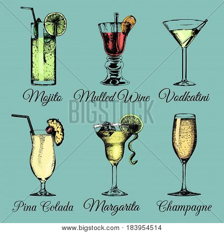 Cocktails and glasses. Hand sketched color alcoholic beverages. Vector set of drinks illustrations, pina colada, margarita, mojito, vodkatini, champagne, mulled wine isolated.