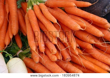 Bunches Of Fresh Spring Carrots With Green Top