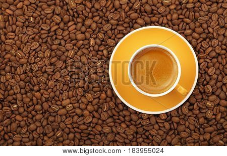Espresso Yellow Cup And Saucer On Coffee Beans