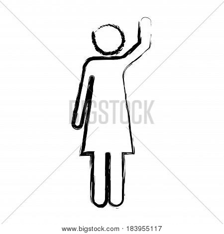 monochrome blurred silhouette of pictogram woman with left arm raised vector illustration