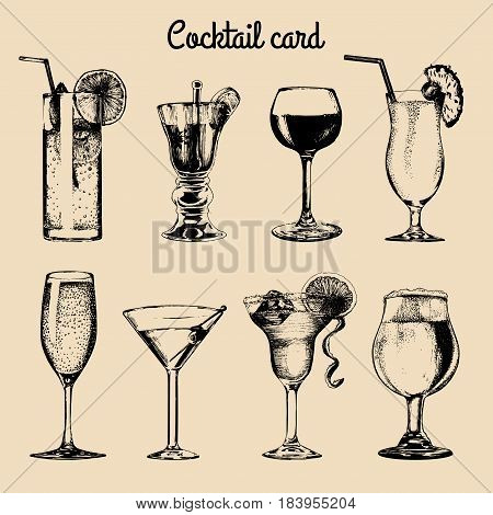 Cocktail card. Hand sketched alcoholic beverages glasses. Vector set of drinks illustrations beer, pina colada, margarita, red wine, mojito, vodkatini, champagne etc isolated.