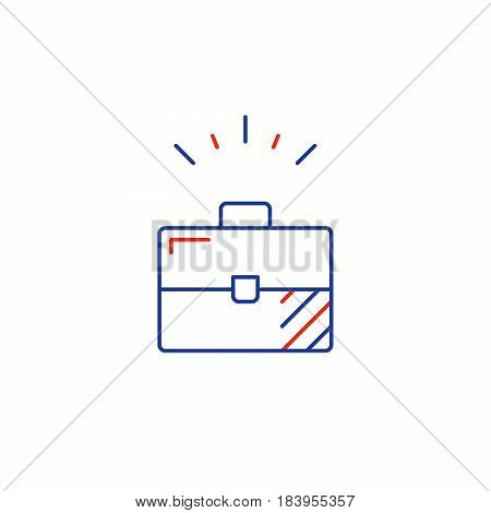 Business solutions, product offer bundle, suit case vector mono line icon