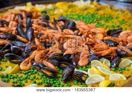 A Shrimp and Mussel Paella in Pan
