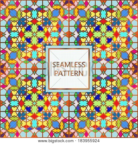 Colorful seamless pattern with golden inserts. Ornamental mosaic vector background. Suitable for textile tile slab fashion stained-glass window vitrage