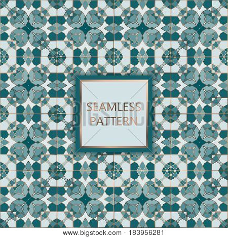 Green seamless pattern with silver inserts. Ornamental mosaic vector background. Suitable for textile tile slab fashion stained-glass window vitrage.