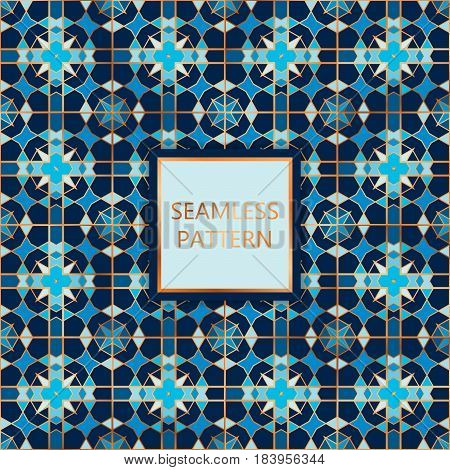 Blue seamless pattern with golden inserts. Ornamental mosaic vector background. Suitable for textile tile slab fashion stained-glass window vitrage.