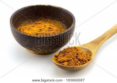 Turmeric (curcuma) Powder On Wooden Spoon On White Background.