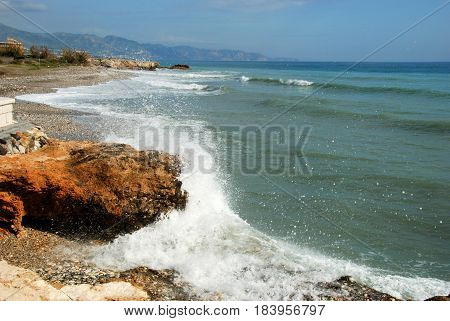 View along the beach and coastline Torrox Costa Malaga Province Andalusia Spain Western Europe.