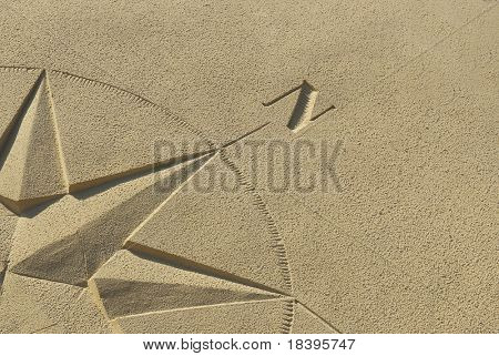 compass background in the sand