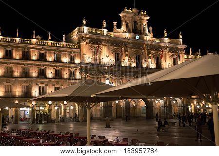 Night view of Plaza Mayor and Clock Tower, Salamanca
