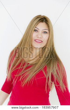 Vertical photo of attractive smiling girl with long brown healthy straight hair