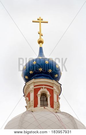 Russian province orthodoxy church with blue cupolas