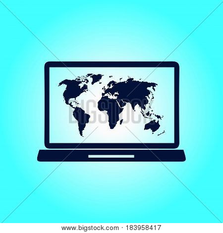 Laptop and world map illustration. World map geography symbol.  Flat design style.