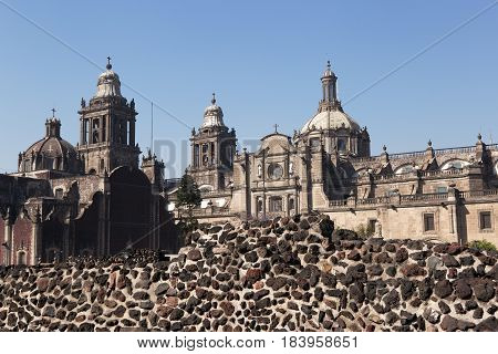 Mexico City Cathedral and Templo Mayor ruins