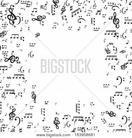 Set of musical notes, Treble clef. Vector Illustration. EPS10