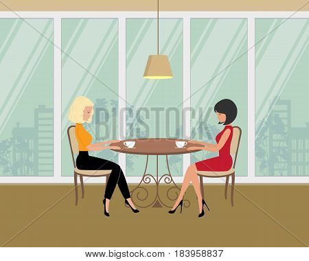 Two girls in the cafe. There is a brunette and a blonde, sitting at the table and drinking coffee on a window background in the picture. Vector flat illustration.
