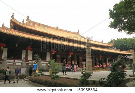 GUANGZHOU CHINA - NOVEMBER 13, 2016: Unidentified people visit Guangxiao Temple. Guangxiao Temple is one of the oldest Buddhist temples in Guangzhou.