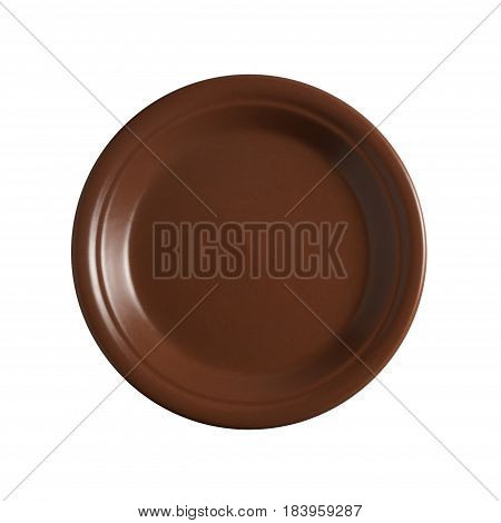 Empty brown ceramic plate on white background top view