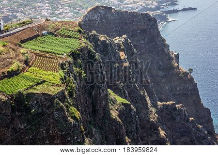 Madeira island, Portugal. Landscape on the Southern Coast Cabo Girao, Atlantic Ocean and Funchal.