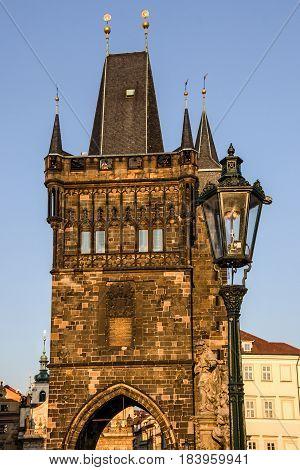 Prague Charles bridge tower architecture, Czech Republic