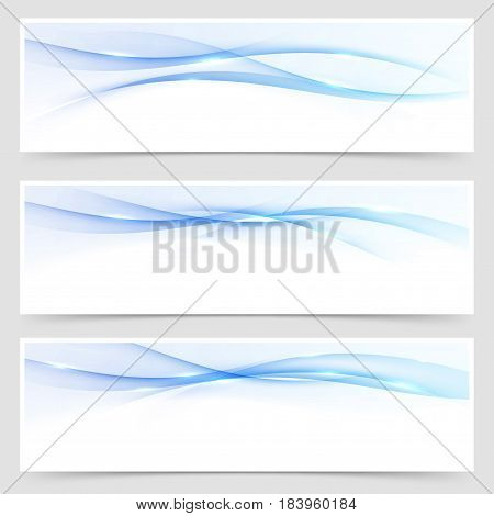 Beautiful bright blue business flyer template with speed swoosh fantasy gradient halftone flaring lines. Vector illustration