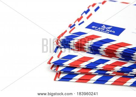 Air Mail Letter Stack On White Background.